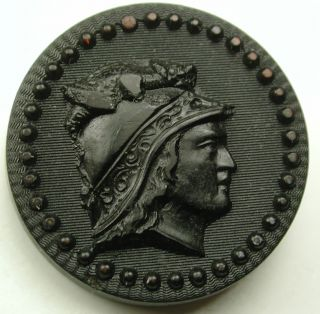 Antique Rubber Button Mythology Figure W/ Dragon Helmet Profile Design - 1