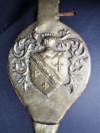 Brass Leather Bellows Crested Coat Of Arms Bellow Vtg Hand Blower Fireplace photo