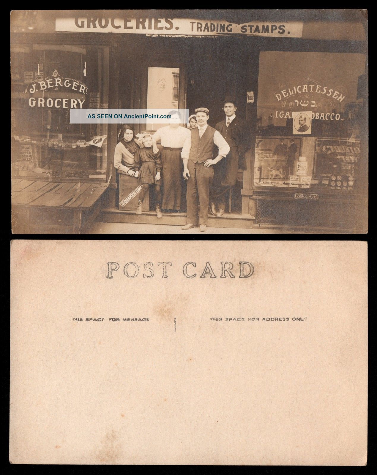 Rppc General Store J.  Berger Grocery Deli Cigars Tobacco Trading Stamps Quaker Other Mercantile Antiques photo