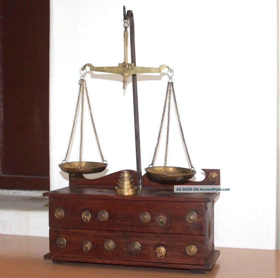 1900 ' S Antique Goldsmith Jewelry Weight Balance Brass Scale With Wooden Box 432 Scales photo
