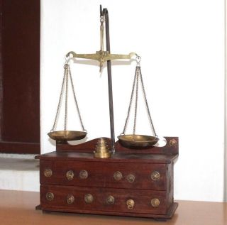 1900 ' S Antique Goldsmith Jewelry Weight Balance Brass Scale With Wooden Box 432 photo