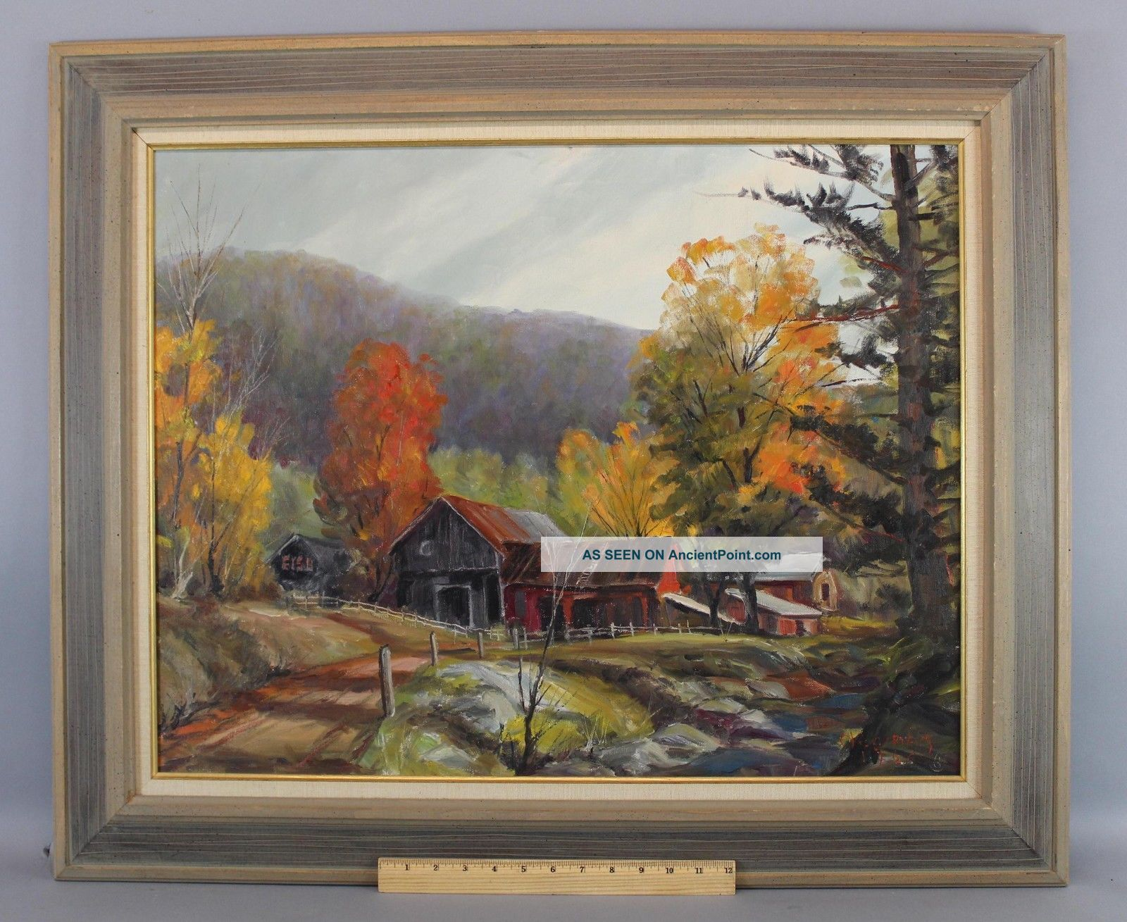 Vintage 1964 Bird Spencer Newman Jersey Country Landscape Oil Painting Nr Other Maritime Antiques photo
