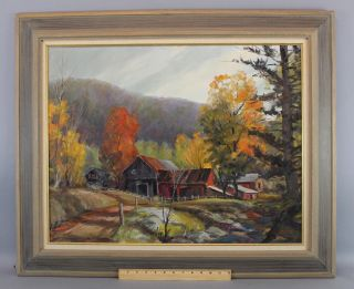 Vintage 1964 Bird Spencer Newman Jersey Country Landscape Oil Painting Nr photo