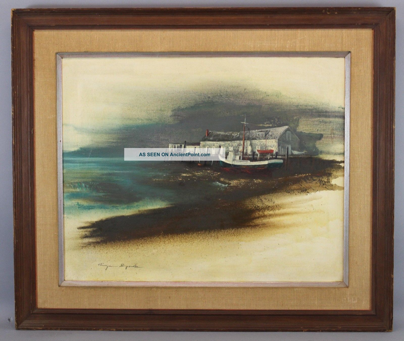 1966 Vintage Eugene Sparks Provincetown Ma Fishing Dock & Boat Oil Painting Nr Other Maritime Antiques photo