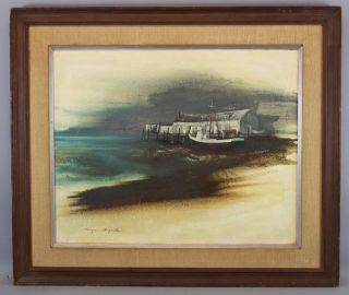 1966 Vintage Eugene Sparks Provincetown Ma Fishing Dock & Boat Oil Painting Nr photo