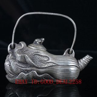 Old Chinese Silve Copper Hand Carved Cabbage Teapot photo