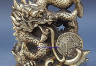 Chinese Old Lucky Brass Auspicious Zodiac Year Dragon Beast Statue Sculpture photo