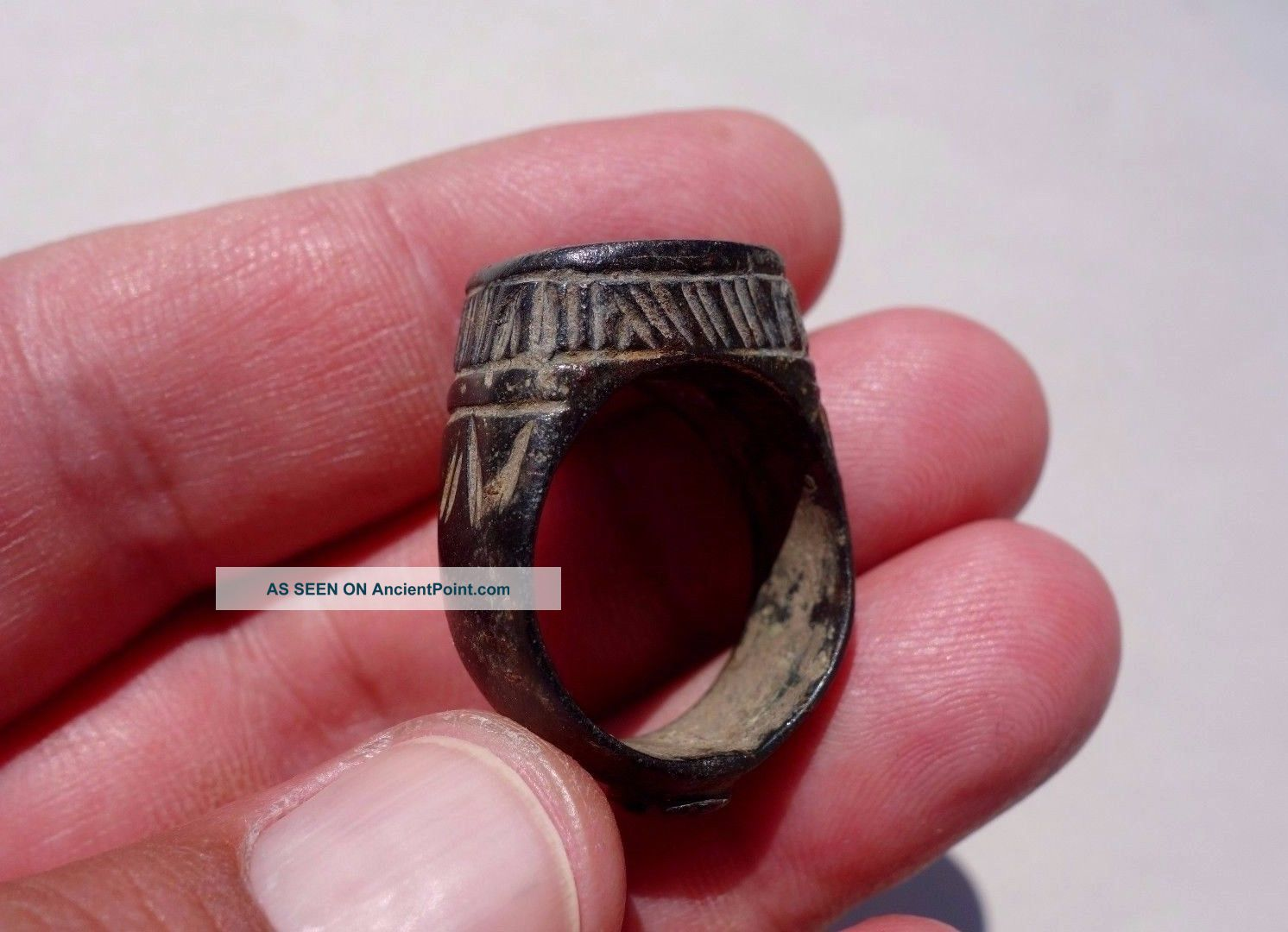 Ancient Massive Roman Bronze Engraved Ring Roman photo