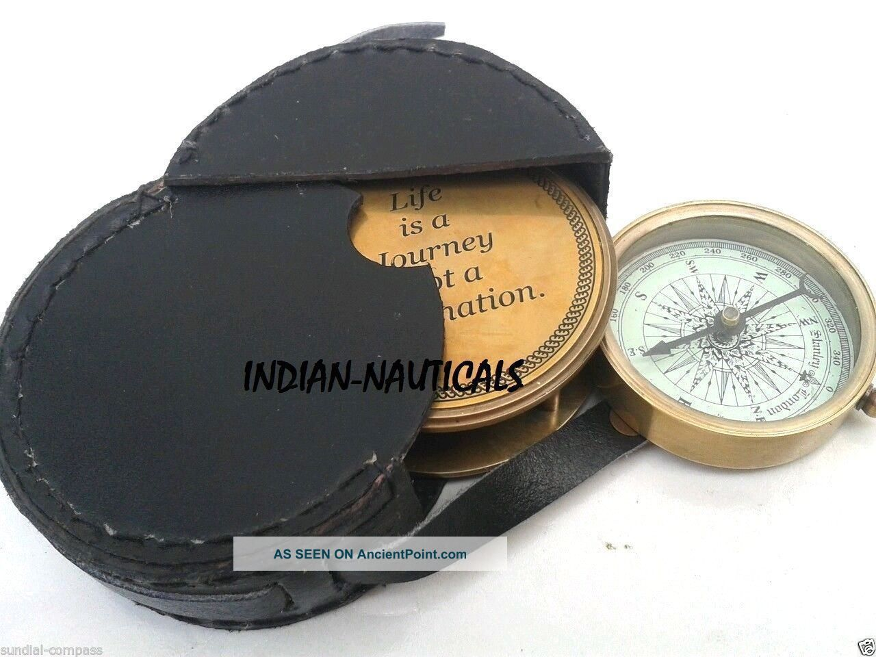 Nautical Solid Brass Look Compass Sliding Compass Leather Case Decorative Gift Compasses photo