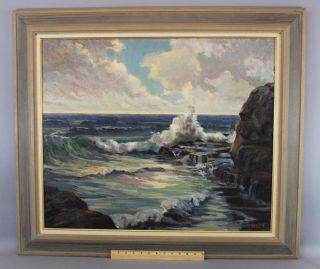Vintage 1949 Bird Spencer Newman Jersey Maritime Seascape Oil Painting Nr photo
