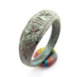 Ancient Medieval Ornament Bronze Finger Ring (jul02) photo