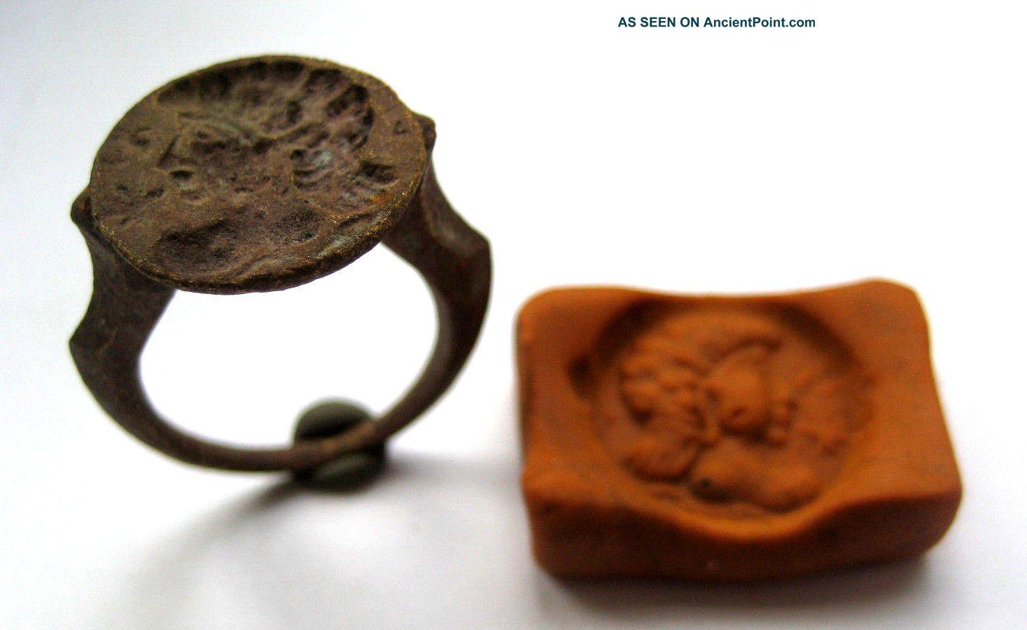 Circa.  1850 A.  D Grand Tour - Ancient Greece Bronze Seal Ring Greek photo