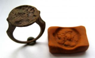 Circa.  1850 A.  D Grand Tour - Ancient Greece Bronze Seal Ring photo