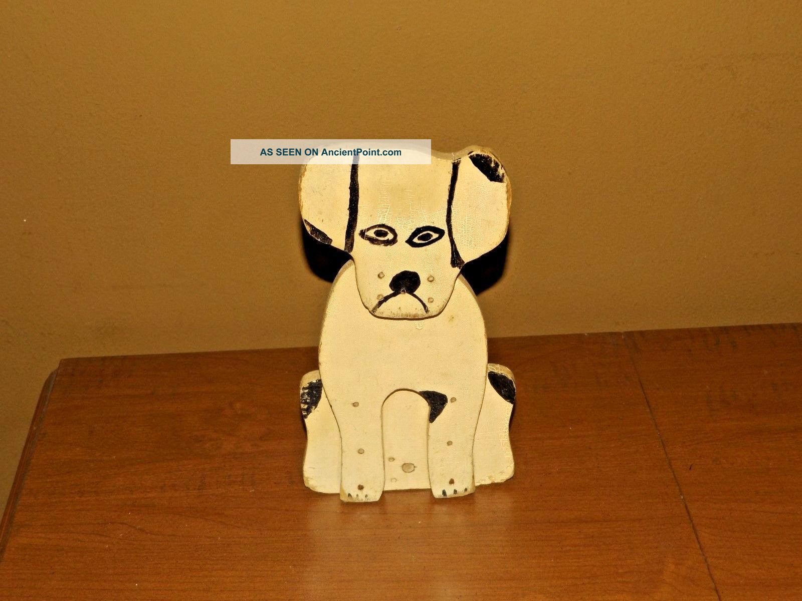 Vintage Handmade Folk Art Wooden Wedge White & Black Dog Door Stop Primitives photo