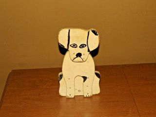 Vintage Handmade Folk Art Wooden Wedge White & Black Dog Door Stop photo