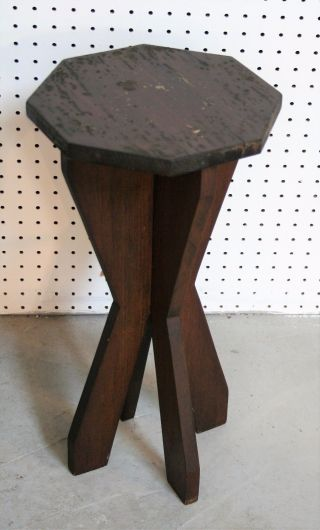 Vintage Handmade Solid Wood Folk Art Side Table Solid Complete photo