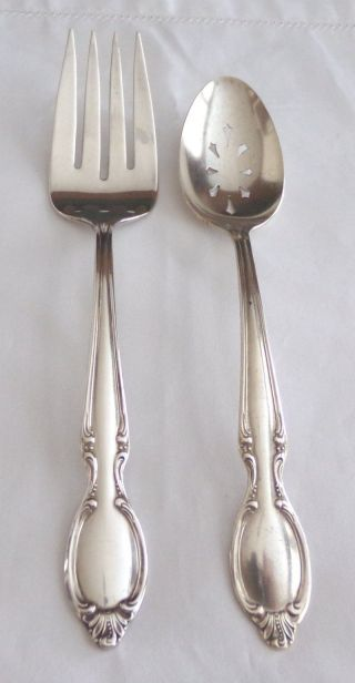 Wm Rogers I/s Silverplate ' Precious Mirror ' Pierced Tablespoon/serving Fork 1954 photo