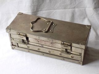 Early 20th Century Medical,  Veterinary,  Sterilisation Box.  Heavy Plated Copper. photo