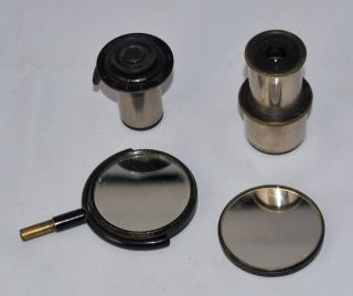 4 X Old Microscope Parts: Mirror,  Carl Zeiss Eyepiece,  Ehrlich Eyepiece photo