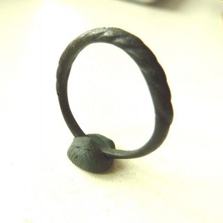 Twisted Wire Scandinavian Viking Bronze Ring (168) photo