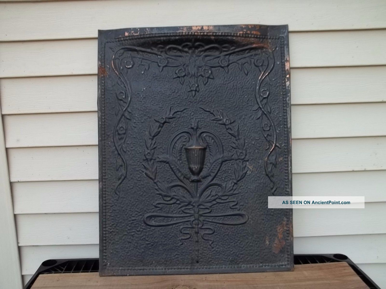 Antique Tin Fireplace Cover Screen Embossed Victorian Design Decor Vintage Fireplaces & Mantels photo