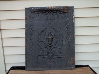Antique Tin Fireplace Cover Screen Embossed Victorian Design Decor Vintage photo