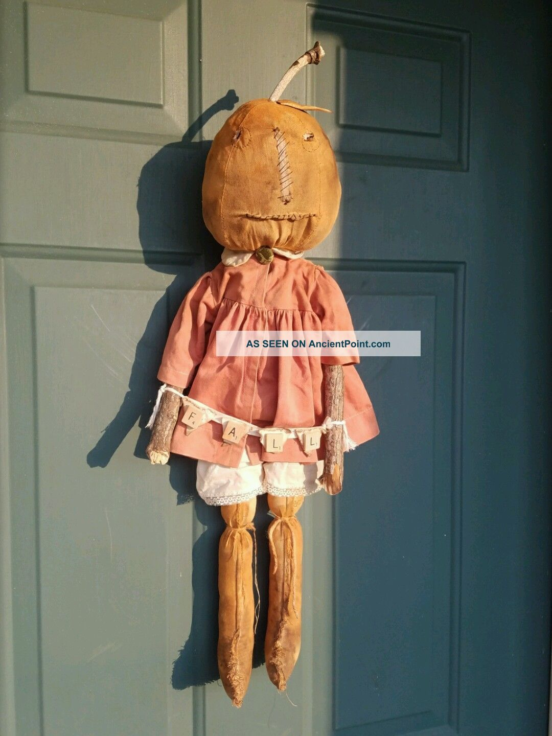 Primitive Folk Art Pumpkin Girl Doll Vintage Clothes Halloween Fall Greeter Primitives photo