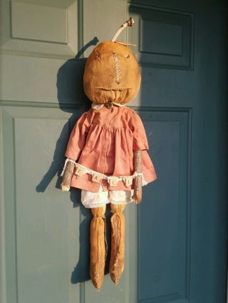 Primitive Folk Art Pumpkin Girl Doll Vintage Clothes Halloween Fall Greeter photo