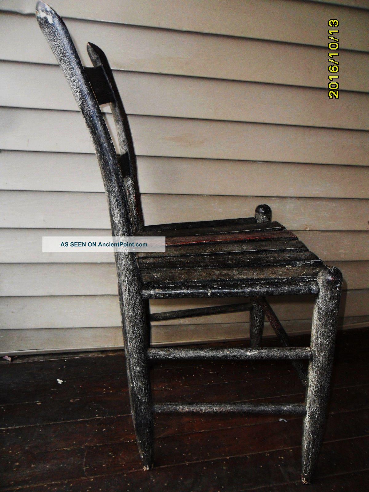 Antique Side Chair 18th Century Crackle Paint Sturdy Rare England Primitives photo