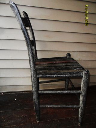 Antique Side Chair 18th Century Crackle Paint Sturdy Rare England photo