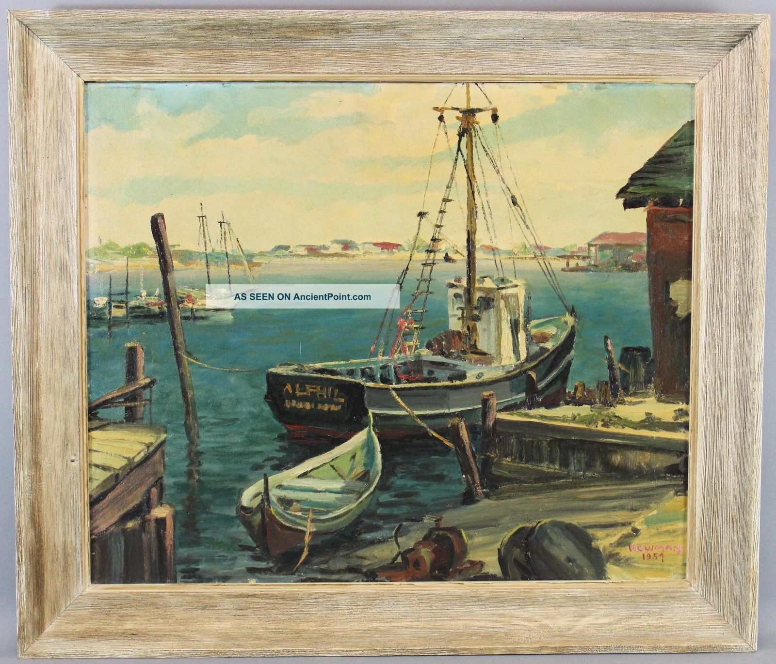 1954 Vintage Authentic Bird Spencer Newman Seascape Docked Boats Oil Painting Nr Other Maritime Antiques photo