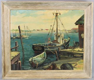 1954 Vintage Authentic Bird Spencer Newman Seascape Docked Boats Oil Painting Nr photo