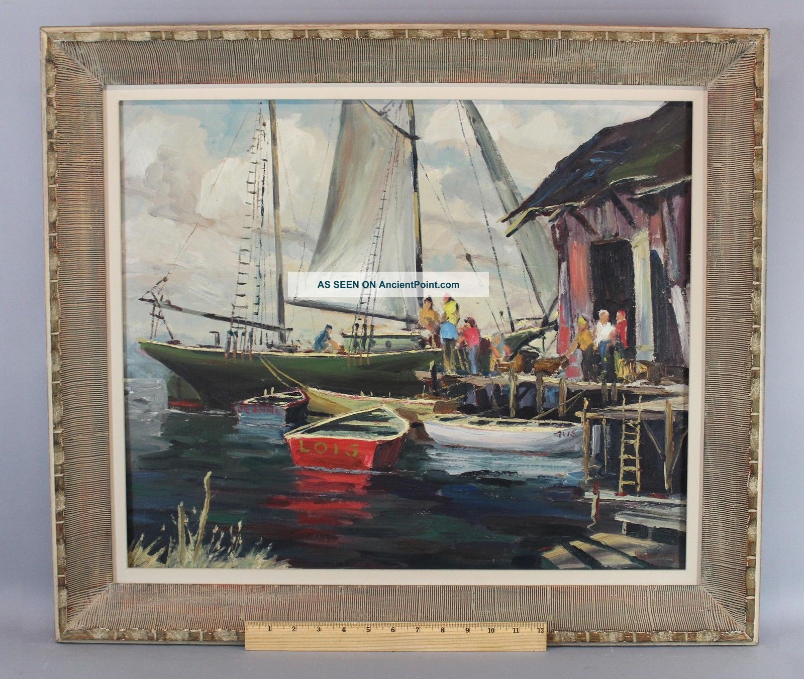 Vintage 1959 Bird Spencer Newman Jersey Seascape Docked Boats Oil Painting Other Maritime Antiques photo