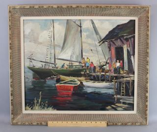 Vintage 1959 Bird Spencer Newman Jersey Seascape Docked Boats Oil Painting photo