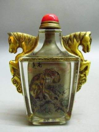 Chinese Exquisite Glass Inside - Drawing Monkey Snuff Bottle - Gold - Plated Two Ho photo