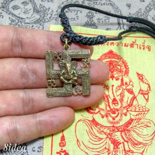 Lord Ganesha Brass Pendant Amulet God Of Success Om Talisman.  Necklace.  Pha Yant A photo