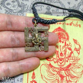 Lord Ganesha Brass Pendant Amulet God Of Success Om Talisman.  Necklace.  Pha Yant A photo