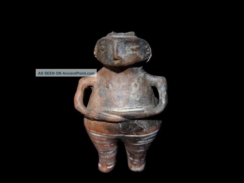 Neolithic Ceramic Idol With 2 Faces –vi Millennia B.  C,  Replica Neolithic & Paleolithic photo
