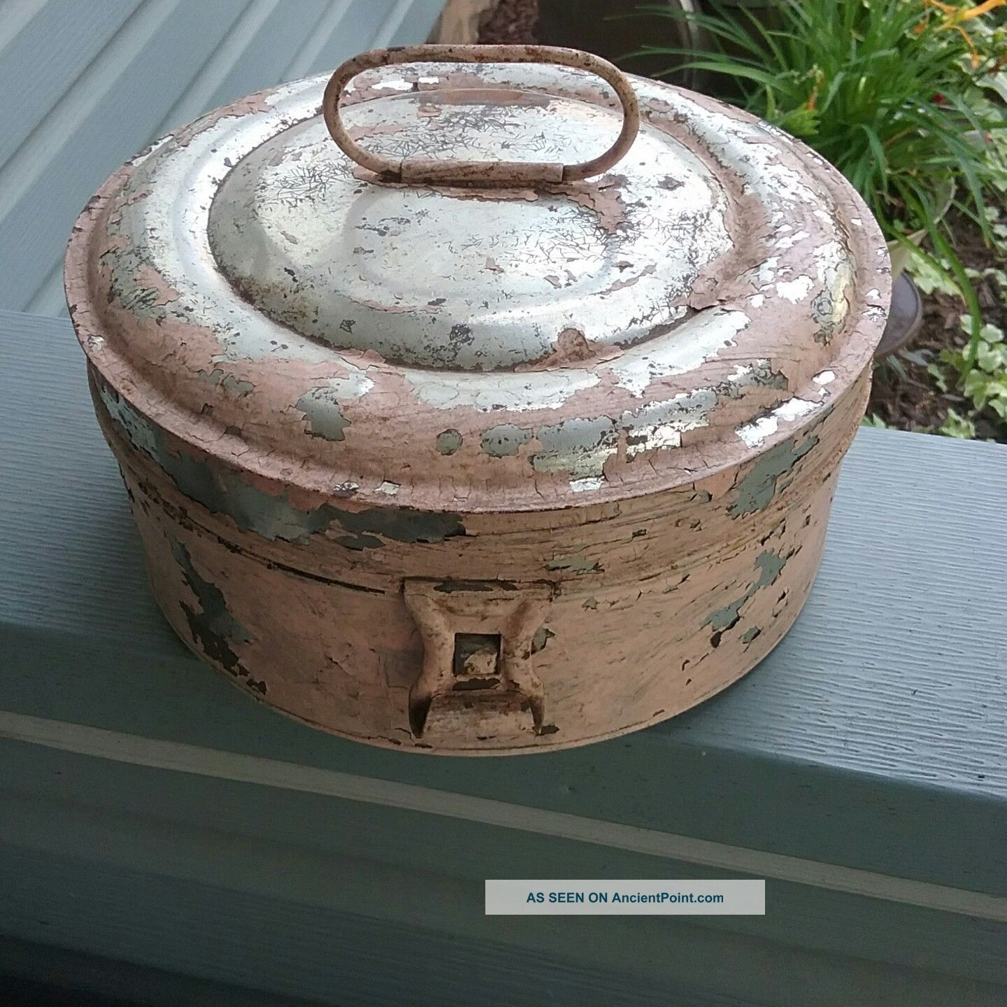 Primitive 1800 ' S Tin Round Spice Box W 7 Round Spice Tins,  Shabby Chic Primitives photo