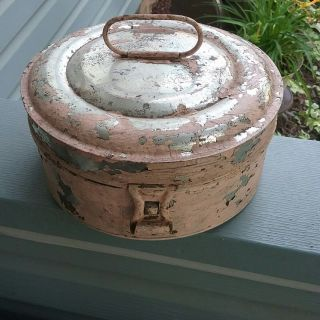 Primitive 1800 ' S Tin Round Spice Box W 7 Round Spice Tins,  Shabby Chic photo
