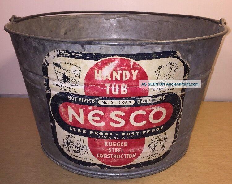 Nesco 4 Gallon Small Galvanized Oval Wash Tub 14