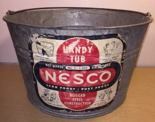 Nesco 4 Gallon Small Galvanized Oval Wash Tub 14