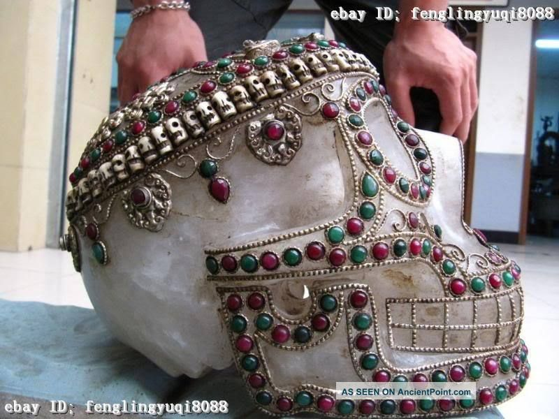 Nepal Handwork Made Crude Crystal Silver Inlay Ruby Beryl Death ' S - Head Reproductions photo