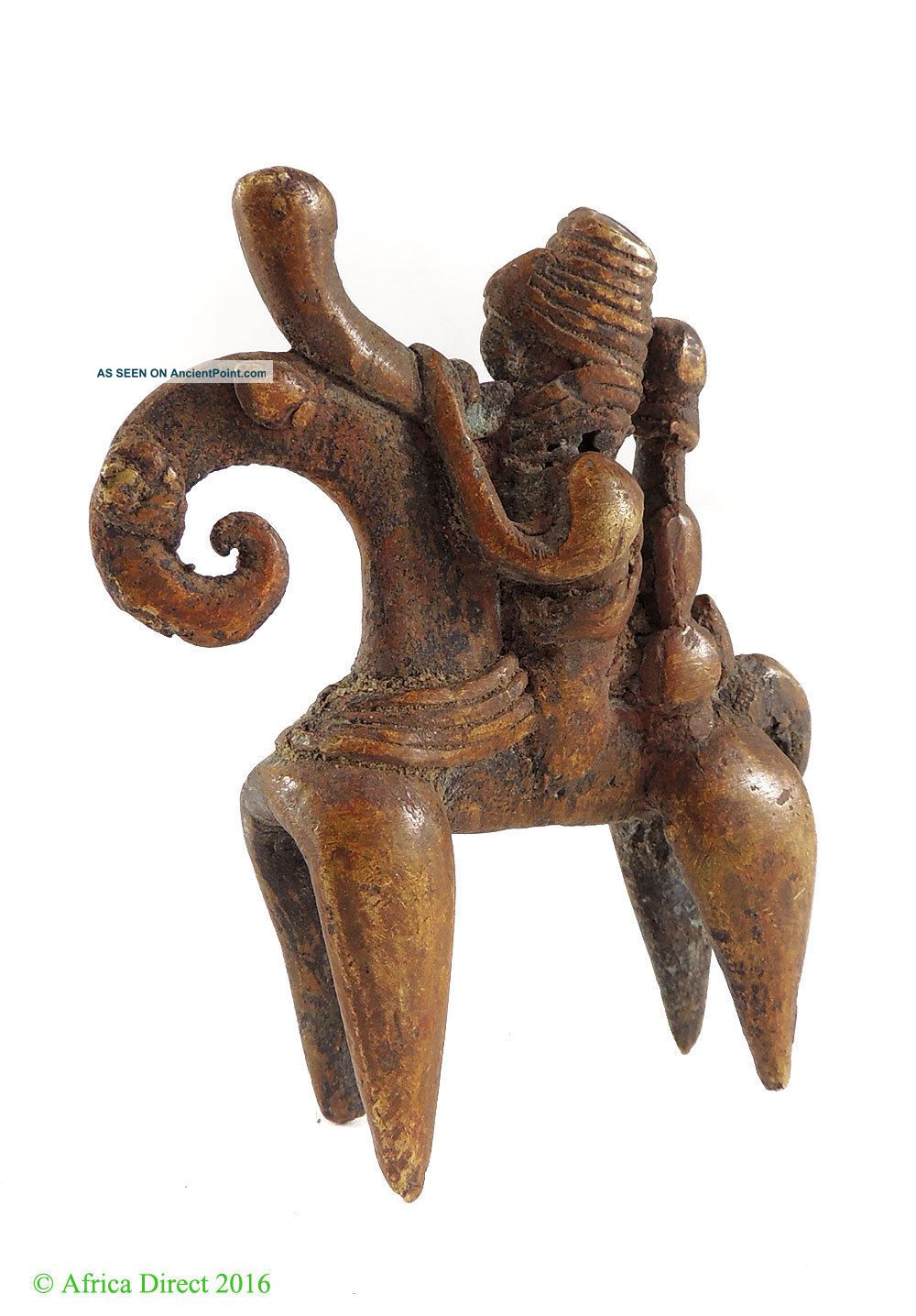 Kotoko Brass Horseman With Passenger Warrior Chad Africa Was $69.  00 Other African Antiques photo