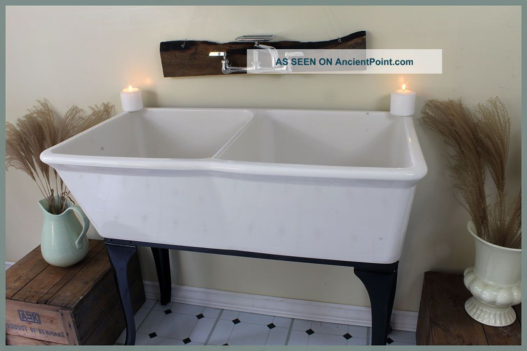 Awesome 1956 Vintage Fords Dual Basin Sink With Decorative Metal Base Sinks photo
