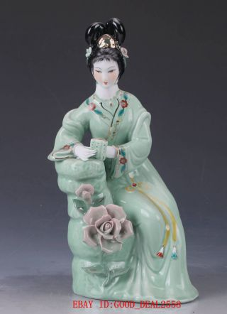 Chinese Porcelain Handmade Carved Beauty Pattern Statue Cx012 photo