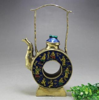 Chinese Old Hand Engraving Pretty Brass Cloisonné Teapot Collect photo
