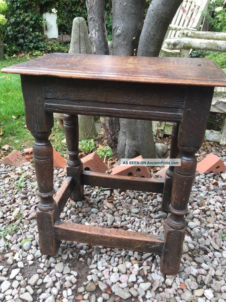 Traditional Polished Oak Antique Joint Tavern Stool Side Table,  Lamp Plant Stand 1900-1950 photo