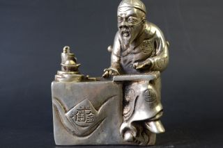 China Collectible Decor Lifelike Old Copper Silver Plate Accountant Man Statue photo