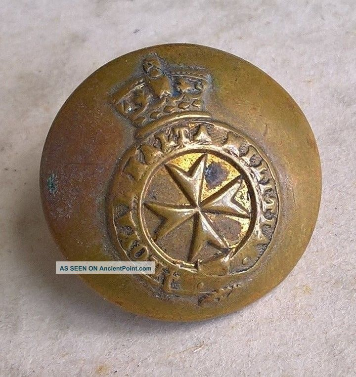 1875 - 1895 Royal Malta Militia Button Marked C Pitt & Co.  St.  Martins Lane London Buttons photo